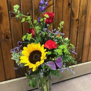Sunflower and Butterfly Flower Arrangement