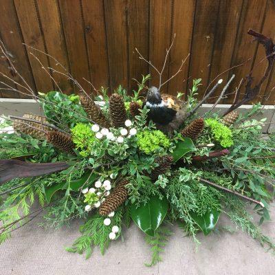 Floral Arrangement with Pinecones