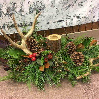 Winter Antler with Pinecones and Candle