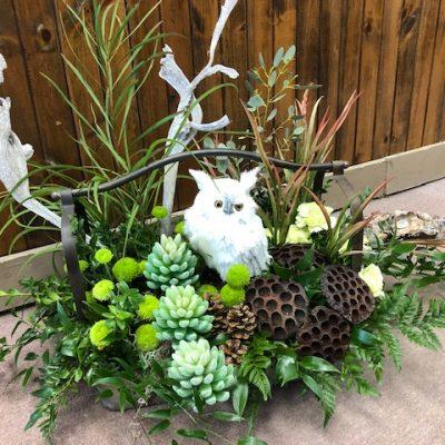Winter Flower Arrangement with Snowy Owl